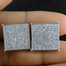 Men's Large 925 Sterling Silver Square Stud Screw Back Earrings