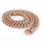 18K Rose Gold Iced Out Miami Cuban Chain