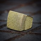 Men's Canary Yellow Lab Simulated Diamond Hip Hop Pinky Ring