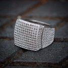 Lab Simulated 14K White Gold Hip Hop Style Micro Pave Mens Ring