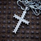 Hip Hop Silver Lab Diamond Iced Out Cross Pendant Necklace