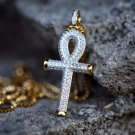 Iced Out Hip Hop Egyptian Ankh Key Of Life Gold Cross Necklace