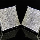MEN'S SQUARE BLOCK FLAT SCREEN WHITE GOLD EARRING STUDS SCREW ON BACKS