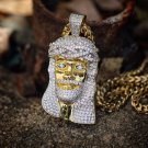 MENS ICED OUT LAB DIAMOND HIP HOP YELLOW GOLD JESUS PIECE NECKLACE