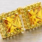 Square Princess Cut 14k Gold Plated Canary Yellow Lab Diamond Stud Earrings