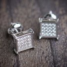 925 Sterling Silver Men's Mini Square Shaped Stud Earrings