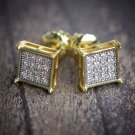 Mens Hip Hop Elegant Square Screw Back Stud Earrings