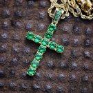 Green 14k Gp Hip Hop Cross Necklace