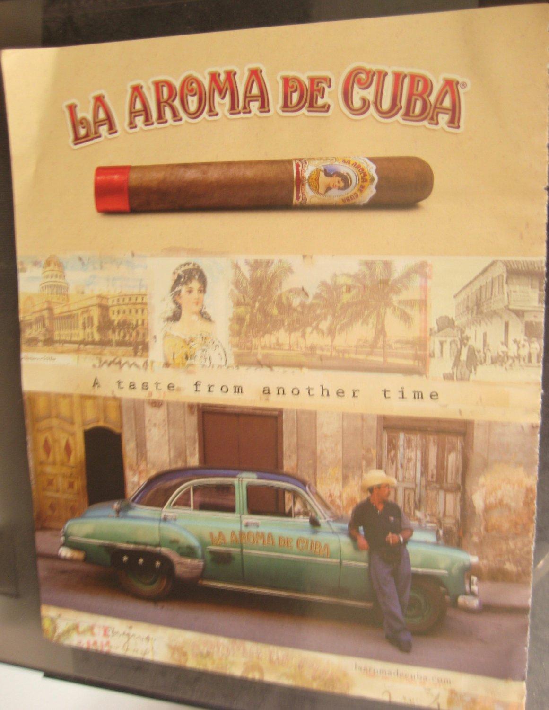 LA AROMA DE CUBA Cigars Print AD Vintage Car