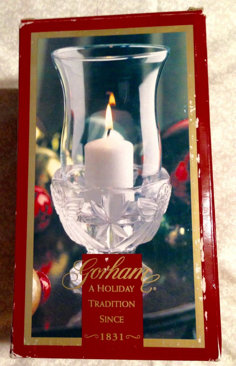 """Gorham Angels of Peace 7.5"""" Hurricane Crystal Candle Holder - Made in Germany"""