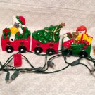 Vintage Christmas Holiday Santa Train Five Peice  Set Lighted Ceremic