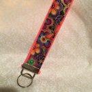 Wristlets Key Fob Dog & Doggies Putple Floral fabric by Laurel Butch. Handmade