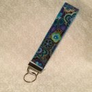 Wristlets Key Fob Dog & Doggies Blue Floral fabric by Laurel Butch. Handmade