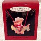 """Hallmark Keepsake 1995 """"Barrel-Back Rider"""" Ornament- Teddy Bear Cowboy"""