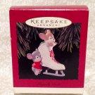 "Hallmark Ornament 1994 ""Friendly Push"" 3.5"" Ice Skate Mice Mouse IOB"