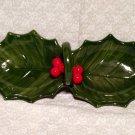 Holly Leaf Shaped Candy Nut Dish Handled Divided 2 Section Vintage  Japan