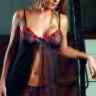 SHEER EMBROIDERED BABYDOLL & MATCHING G-STRING