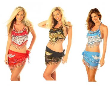 Two Piece Sequined Belly Dancer Set w/Hanging Beaded Knit Fringe