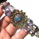 Statement Jewelry Large .925 Sterling Silver Gemstone Bracelet Amethyst Blue Topaz Peridot