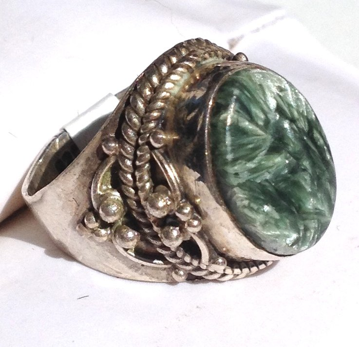 Angel Wing Seraphinite Gemstone Ring .925 Silver Jewelry Size 5 Ornate Sterling