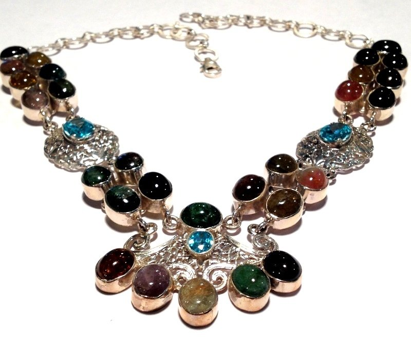 "Elegant Large Rainbow Tourmaline Blue Topaz .925 Silver 16"" 18"" Necklace Sterling Statement Jewelry"
