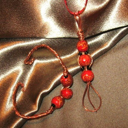 """""""SASSY""""  Red/cream wooden & black seed beads,Copper wire cuff bracelet and necklace set,Handmade"""