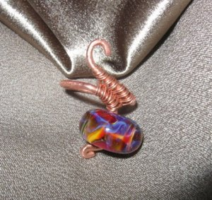 """""""FLAMES""""  Borosilicate bead & copper wire ring, Artisan Handcrafted Jewelry"""