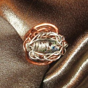 """""""DYNAMITE"""" Copper,Argentium silver wire,Glass bead ring,Handmade Jewelry"""