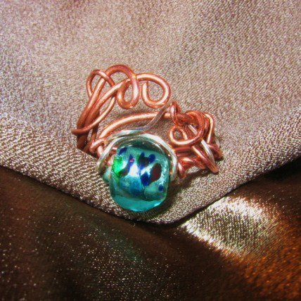 """""""COPPER WAVE"""" Turquoise glass bead,Copper, Argentium silver wire ring,Handcrafted"""