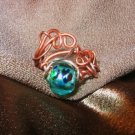 """COPPER WAVE"" Turquoise glass bead,Copper, Argentium silver wire ring,Handcrafted"