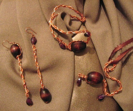 """""""CAPTIVATE"""" Copper wire, brown wooden,purple glass beads,necklace,bracelet & earrings set,Handmade"""
