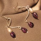 """""""LADY""""  Purple Briolettes & faux pearl beads, Sterling silver filled, Earrings, Handcrafted Jewelry"""