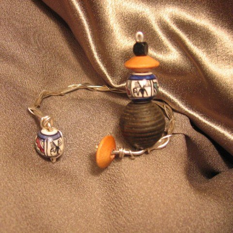 """""""DARE"""" Wooden & Clay painted beads, Sterling Silver wire Bracelet,handcrafted jewelry"""