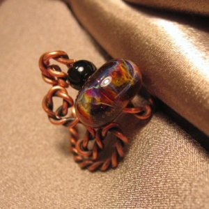 """DOWNTOWN"" Borosilicate(boro) & black glass bead, Copper wire ring, Handcrafted Jewelry"