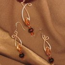 """ORANGE CHOCOLATE"" Sterling silver filled wire, Necklace & Earrings set , Artisan Handcrafted"