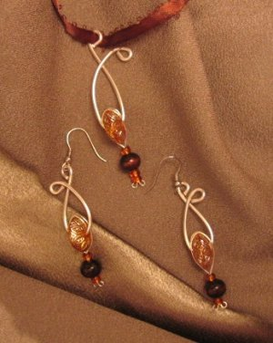 """""""ORANGE CHOCOLATE"""" Sterling silver filled wire, Necklace & Earrings set , Artisan Handcrafted"""
