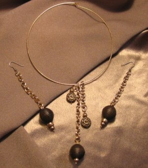 """""""THE EXCLUSIVE""""  Brown wooden beads, Gold tone Necklace & Earrings set, Artisan Handcrafted"""