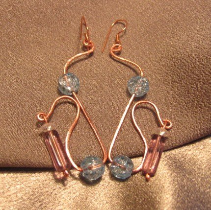 """""""ENCHANTMENT""""  Crackle & lilac glass beads, Copper wire Earrings, Handcrafted Jewelry"""