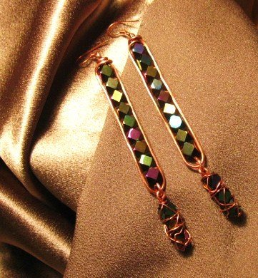 """CITY LIGHTS"" Jet diamond cut glass beads,Copper wire Earrings,Handcrated Jewelry"