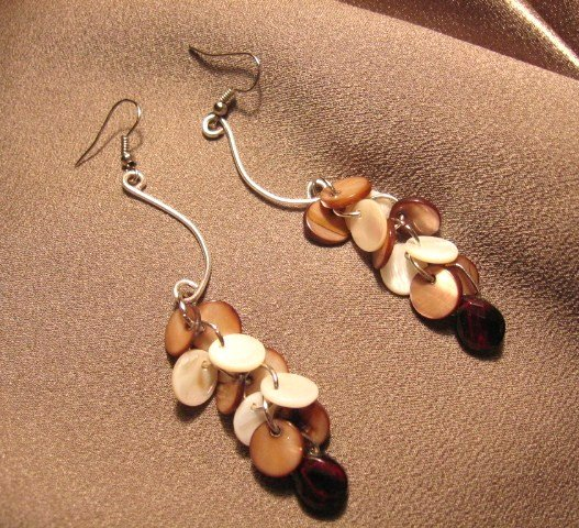 """""""TROPICS""""  Mother of pearl, Glass briolettes,Silver filled wire Earrings, Handmade Jewelry"""