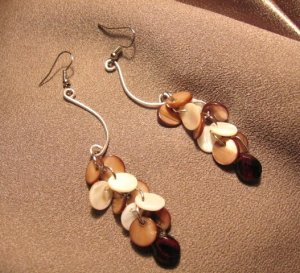 """TROPICS""  Mother of pearl, Glass briolettes,Silver filled wire Earrings, Handmade Jewelry"