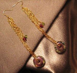 """PLAY""  Borosilicate(boro) beads, Garnet & Peridot ,Gold colored Earrings Handcrafted jewelry"