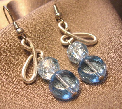 """""""BLUE ICE DIAMONDS""""  Crackle glass beads, Silver filled wire, Earrings, Handcrafted Jewelry"""