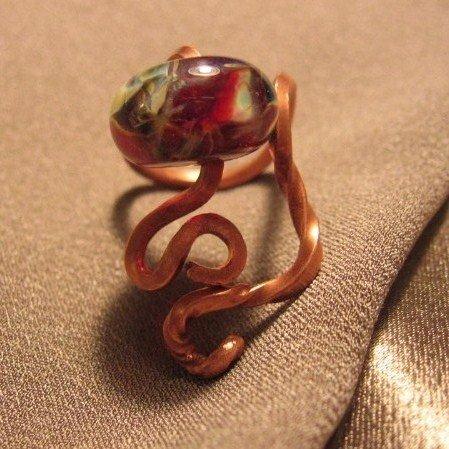 """""""S""""  Borosilicate (boro) bead, Copper ring, Handcrafted Jewelry"""