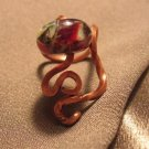 """S""  Borosilicate (boro) bead, Copper ring, Handcrafted Jewelry"