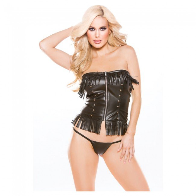 Faux leather corset top 11-3005
