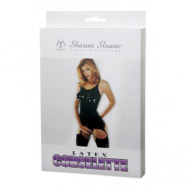 Sharon Sloane - Latex Corselette Black ~ Medium 9508M-BX