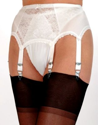 6 Strap Suspender Belt Lace Front Panel From Nylon Dreams NDL 8