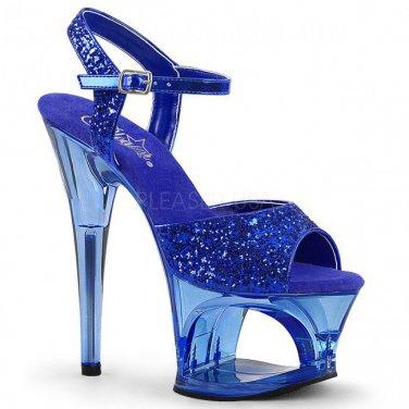 Pleaser MOON-710GT Blue Glitter/Blue Tinted