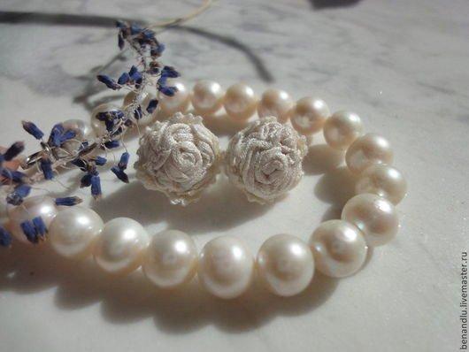 BENANDLU - Stud earrings-rose silk and silver